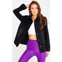 Mısocıal Kadın Arkası Baskılı Yırtık Kot Ceket