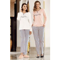 Somon Zikzak Desenli Pijama Takımı