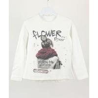 Minipomes 8 - 14 Yaş Kız Çocuk Inci Süslemeli Baskılı Sweatshirt