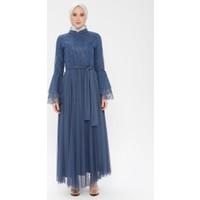 Bürün Kadın Tüllü Abiye Elbise Indigo