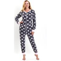 Lingabooms 1505 Kadın Pijama Kışlık Yıldızlı Tulum