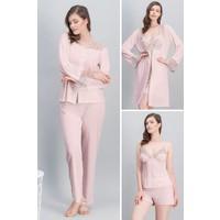 Arnetta Beautiful Bride Lacivert Kadın Kısa Gecelik, Sabahlık, Pijama Takımı, Şortlu Pijama Takımı Gelin 6'Lı Çeyiz Seti