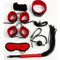 Vip Club Kırmızı Siyah Kelepçe Kırbaç Full Aksesuar Set