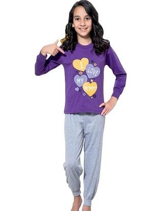Elit Kız Çocuk Interlok Kalın Kumaş Eşofman Pijama Takımı K3269