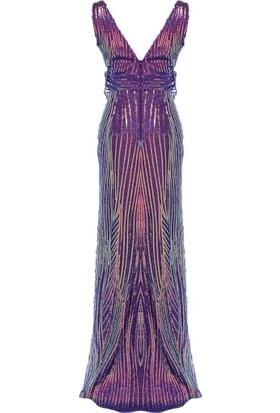 Mileny Kadın Payetli Abiye Elbise Lila