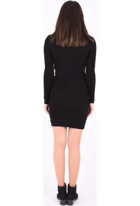 Sam Toni Ön Detaylı Siyah Elbise