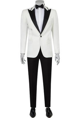 D's Damat Slim Fit Beyaz Smokin Takım Elbise
