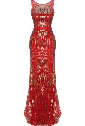 Mileny Kırmızı Payetli Abiye Elbise