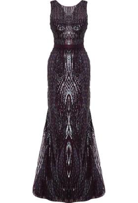 Mileny Mor Payetli Abiye Elbise