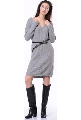 Efgima V Yaka Triko Elbise Gri