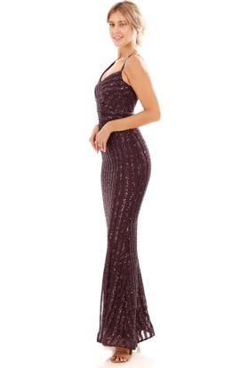 Carmen Mürdüm Payetli Çizgili Uzun Balık Abiye Elbise