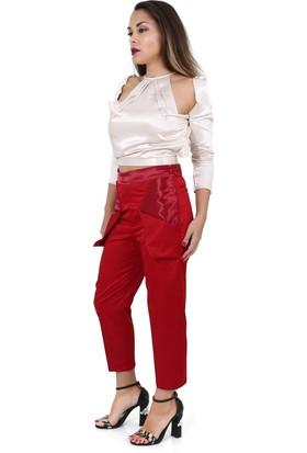 Tantrona Ipek Saten Kumaş Origami Cep Havuç Pantolon