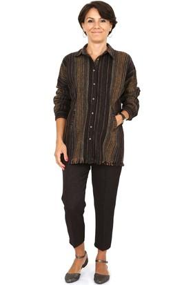 Tasarım Atölyesi Kadın Kahve Karelı Gömlek