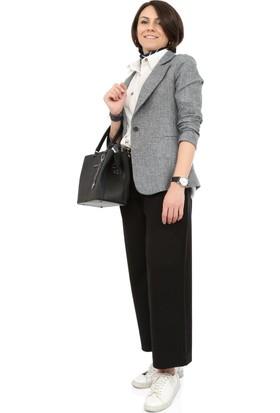 Tasarım Atölyesi Kadın Gri Ceket Önü Tek Düğme