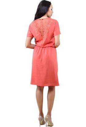 Dodona 2595 Arkası Dantelli Şık Abiye Gece Yazlık Elbise