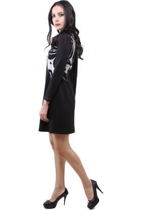 Dodona 3002 Siyah Şık Abiye Gece Kışlık Elbise