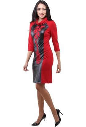 Dodona 3231 Tasarım Kırmızı Şık Abiye Gece Kışlık Elbise