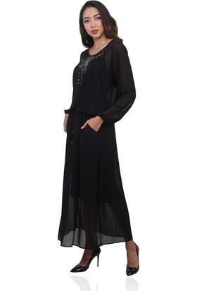 Dodona 3381 Nakış ve Taşlı Siyah Kışlık Uzun Elbise