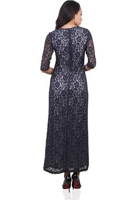 Dodona 3412 Özel Tasarım Navy Uzun Kışlık Elbise