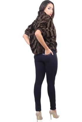 Dodona 3443 Tasarım Taşlı Nakışlı Kışlık Navy Pantolon