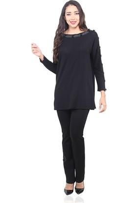 Dodona 3450 Yakası Şerit Taşlı Siyah Kışlık Bluz