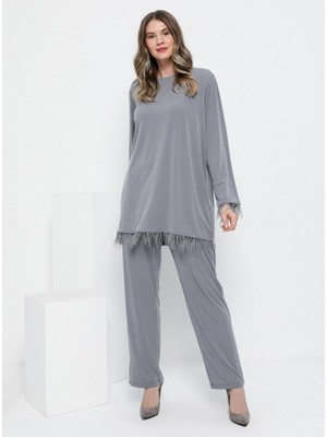 Alia Tüy Detaylı Tunik Pantolon İkili Takım