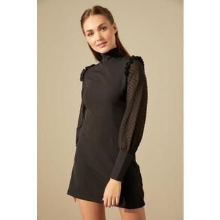 Trendmay Kol Tül Detay Kalem Elbise Siyah M
