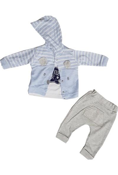 Bebiço Kapşonlu 3'lü Erkek Bebek Takım