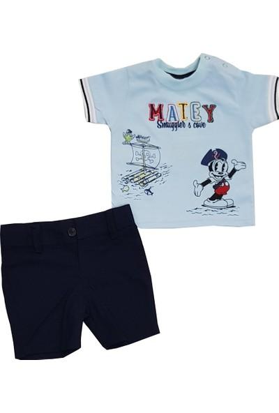 Lupita Mavi Tişörtlü Erkek Bebek Takım 6-12 Ay