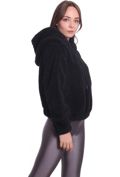 Dilvin Kadın Kapüşonlu Peluş Sweat P3492 Siyah