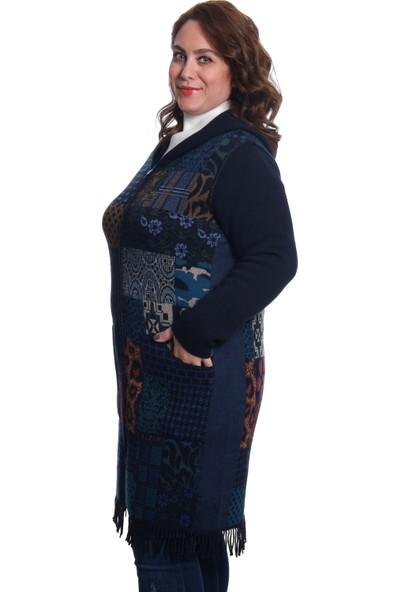 Desen Triko Kadın Kapüşonlu Triko Kaban 9245 K.Lacivert