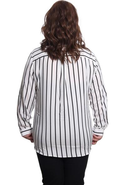 Pinaldi Çizgili Kadın Gömlek 19-9378 Siyah-Beyaz 29W21199378