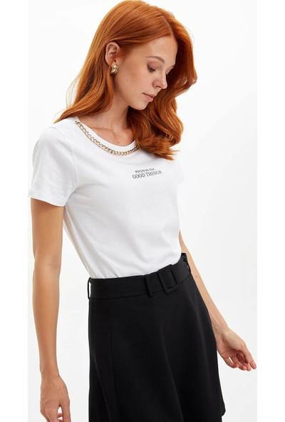 Defacto Zincir Detaylı Baskılı Kısa Kollu T-shirt