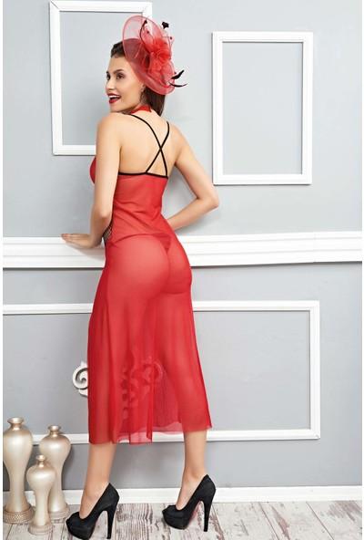 Mite Love Mite Love Fileli Uzun Gecelik Kırmızı Kadın Fantazi Giyim