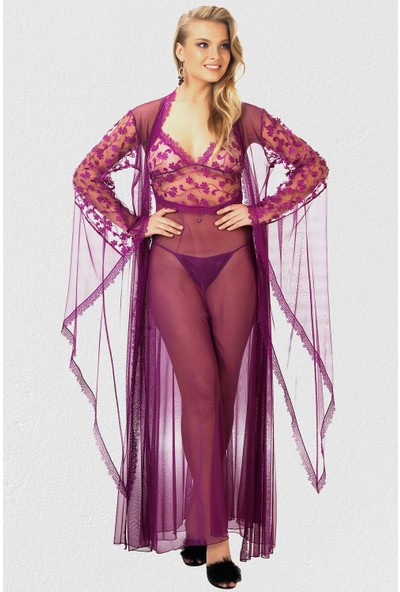 Mite Love Mite Love Fransız Dantelli Kadın Gecelik Fantazi Giyim Mor