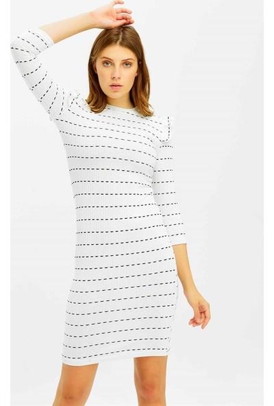 Mısocıal Kadın Enine Çizgili Omuz Pile Detay Elbise