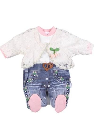 Jikko 526-KIZ 3/9 Ay Kirazlı Tulum Takım 44064 Kız Bebek Giyim