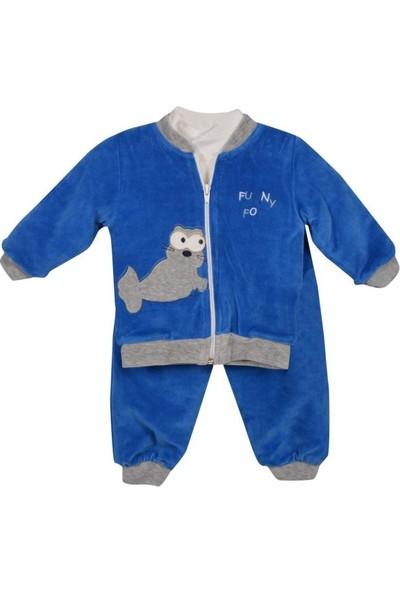 Şan Bebe Foklu Peluş Astarlı Kadife 3 Lü Takım Bebek Giyim
