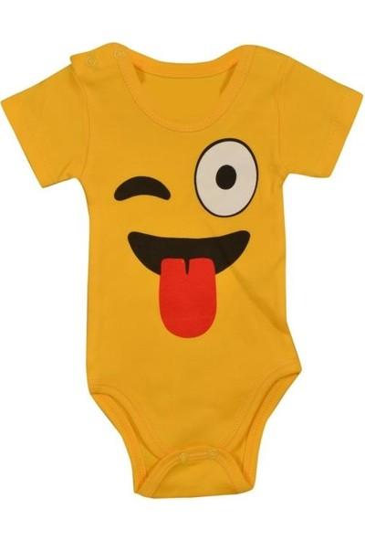 Tomuycuk Emoji Kısa Kol Body Organik Bebek Giyim