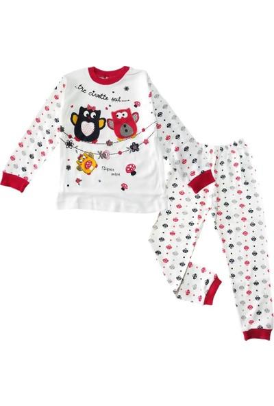 Kidsmadamiko Kız Çocuk Desenli Beyaz 3-5 Yaş Pijama Takım