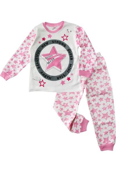 Kidsmadamiko Kız Çocuk Yıldızlı Pembe 4-6 Yaş Pijama Takım
