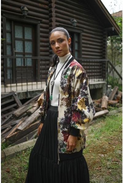 Habb Kadın Renkli Bomber Ceket
