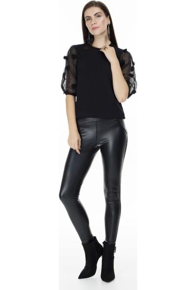 Lela Kolları Tül Triko Bluz Kadın Sweat 5303152