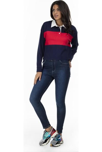Levi's Düğmeli Polo Yaka Kadın Sweatshirt 77627-0001