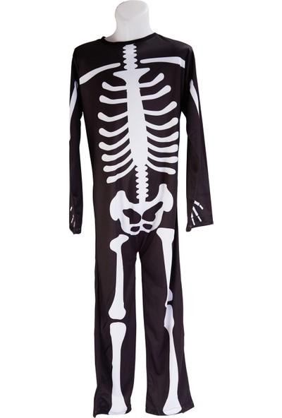 Janjan Kostüm Iskelet Baskılı Tulum Kostüm