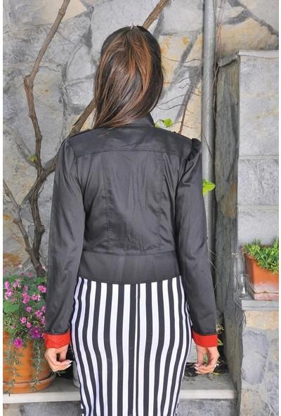 Maldia Düğme Detaylı Kırmızı Manşet Siyah Kadın Ceket