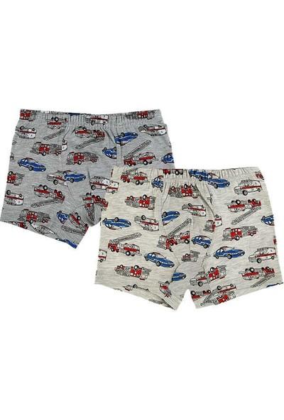 Donella 2'li Gri Araba Baskılı Erkek Çocuk Boxer - 75620-2'li