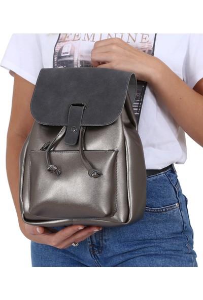 Çanta Sanatı Lexa Platin Nubuk Kadın Sırt Çantası MC055