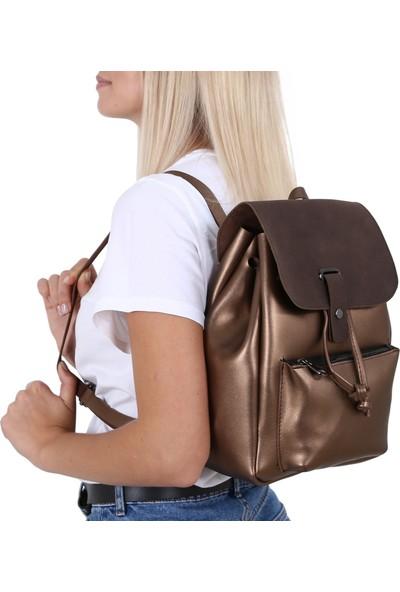 Çanta Sanatı Lexa Bakır Nubuk Kadın Sırt Çantası MC055