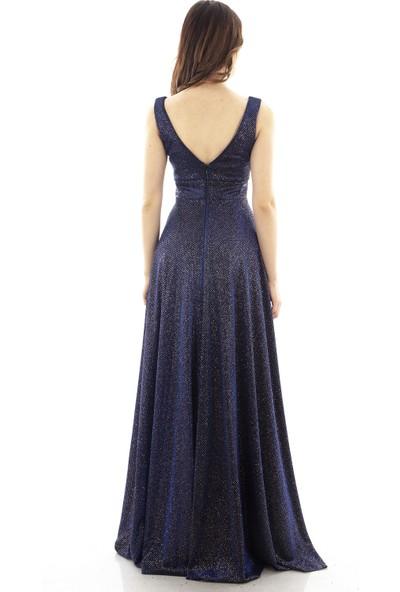 Arda New Line Kadın Saks Abiye Elbise 1607659-10.26